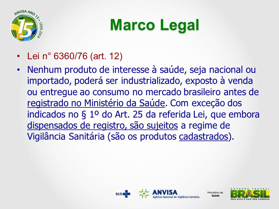 Marco Legal Lei n° 6360/76 (art. 12)