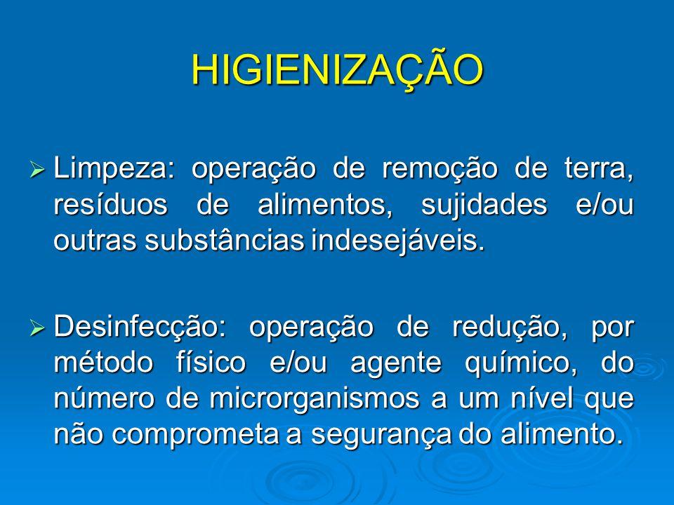 HIGIENIZAÇÃO Limpeza: operação de remoção de terra, resíduos de alimentos, sujidades e/ou outras substâncias indesejáveis.