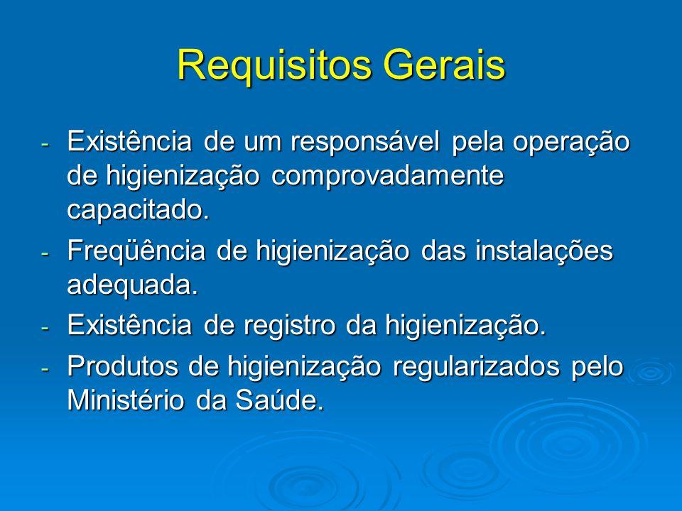 Requisitos Gerais Existência de um responsável pela operação de higienização comprovadamente capacitado.