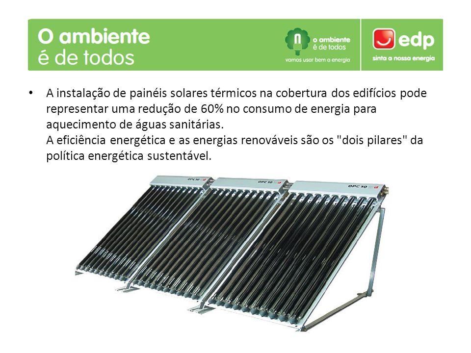 A instalação de painéis solares térmicos na cobertura dos edifícios pode representar uma redução de 60% no consumo de energia para aquecimento de águas sanitárias.