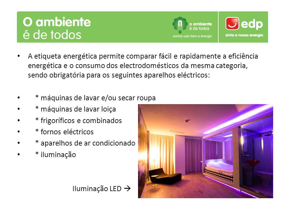 A etiqueta energética permite comparar fácil e rapidamente a eficiência energética e o consumo dos electrodomésticos da mesma categoria, sendo obrigatória para os seguintes aparelhos eléctricos: