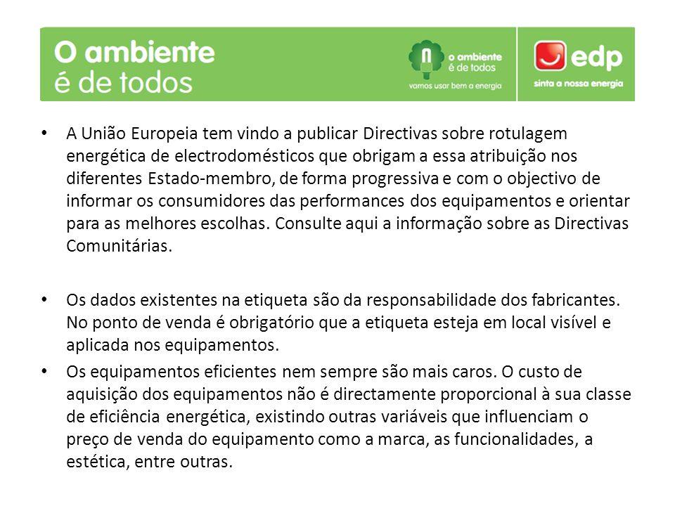 A União Europeia tem vindo a publicar Directivas sobre rotulagem energética de electrodomésticos que obrigam a essa atribuição nos diferentes Estado-membro, de forma progressiva e com o objectivo de informar os consumidores das performances dos equipamentos e orientar para as melhores escolhas. Consulte aqui a informação sobre as Directivas Comunitárias.