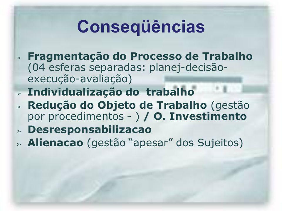 Conseqüências Fragmentação do Processo de Trabalho (04 esferas separadas: planej-decisão- execução-avaliação)