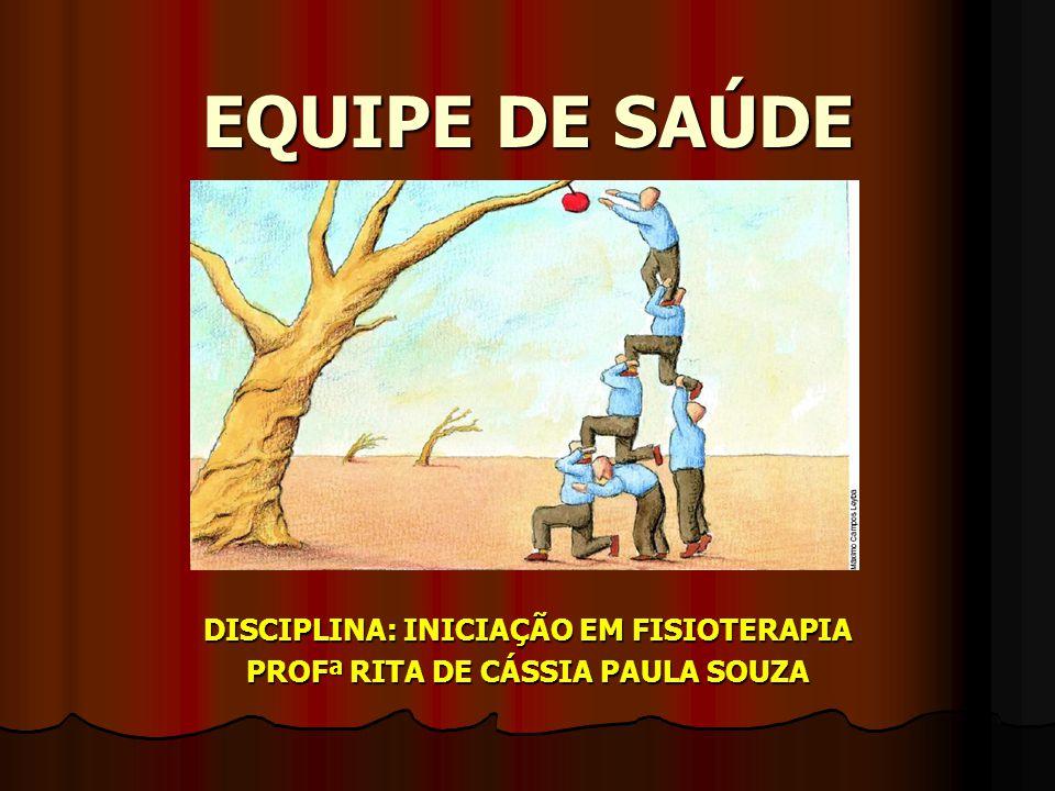 DISCIPLINA: INICIAÇÃO EM FISIOTERAPIA PROFª RITA DE CÁSSIA PAULA SOUZA