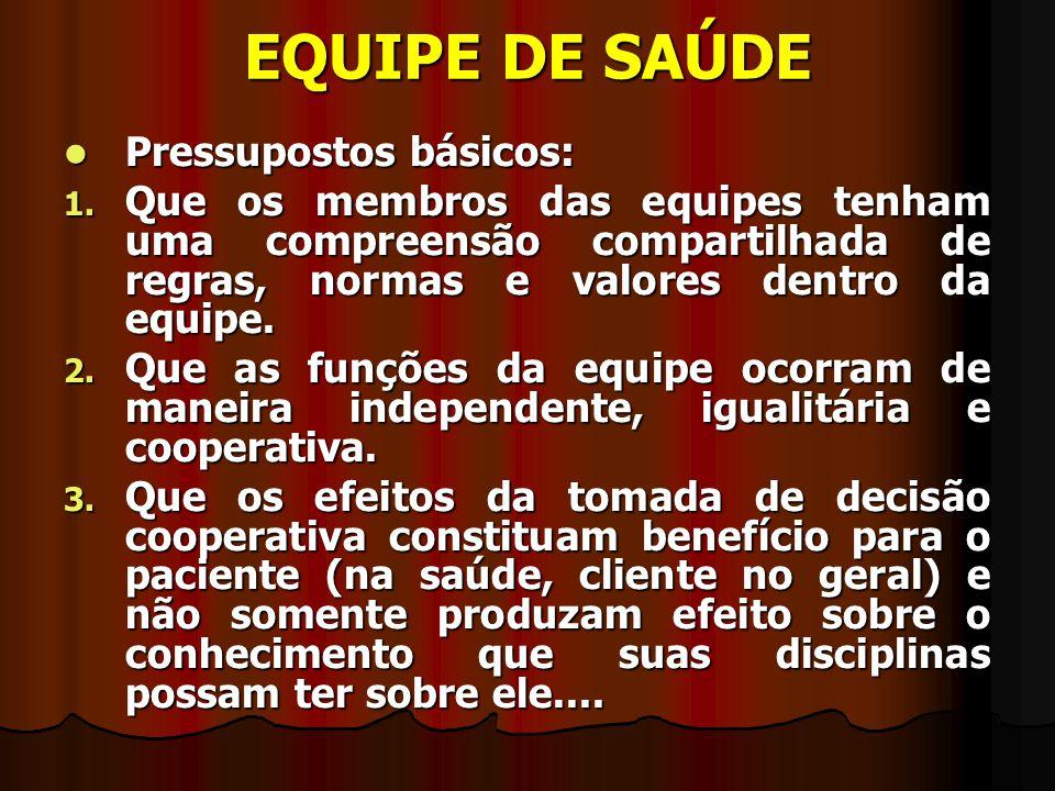 EQUIPE DE SAÚDE Pressupostos básicos: