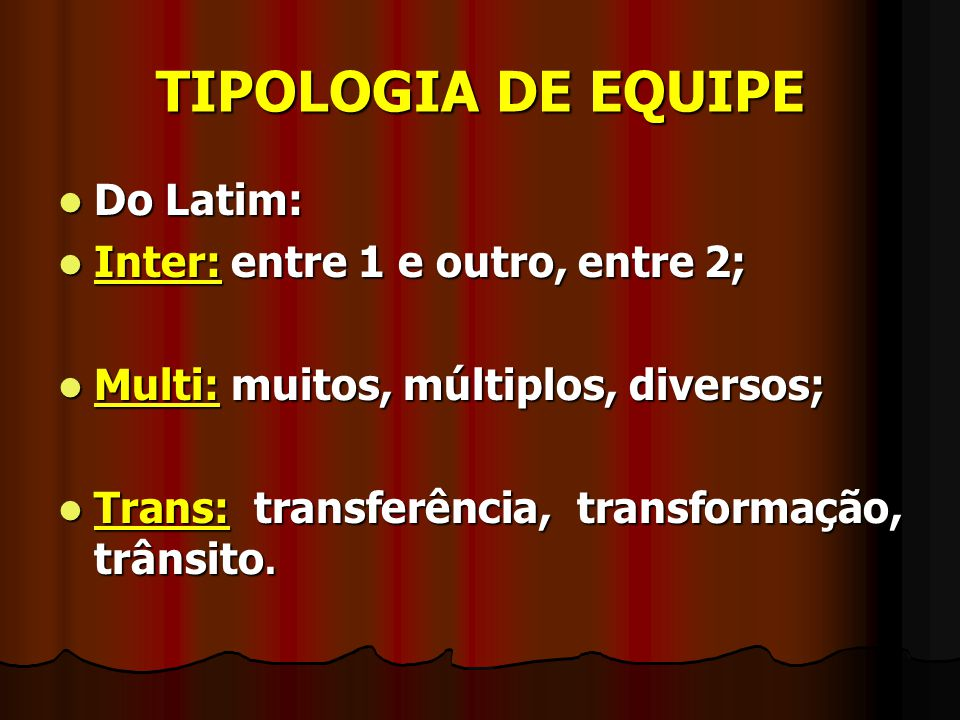 TIPOLOGIA DE EQUIPE Do Latim: Inter: entre 1 e outro, entre 2;