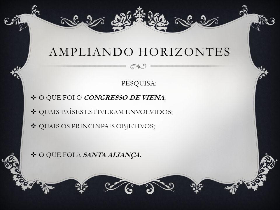 AMPLIANDO HORIZONTES PESQUISA: O QUE FOI O CONGRESSO DE VIENA;
