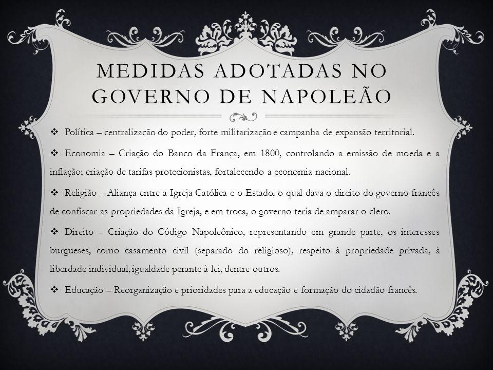 MEDIDAS ADOTADAS NO GOVERNO DE NAPOLEÃO