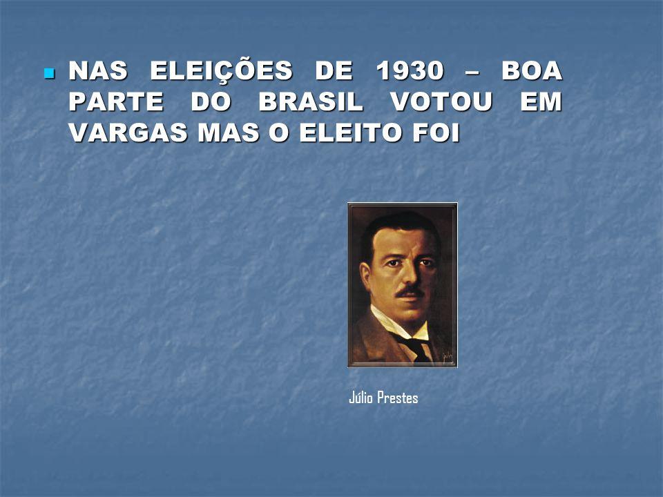 NAS ELEIÇÕES DE 1930 – BOA PARTE DO BRASIL VOTOU EM VARGAS MAS O ELEITO FOI
