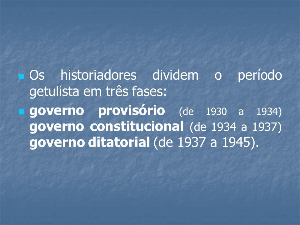 Os historiadores dividem o período getulista em três fases: