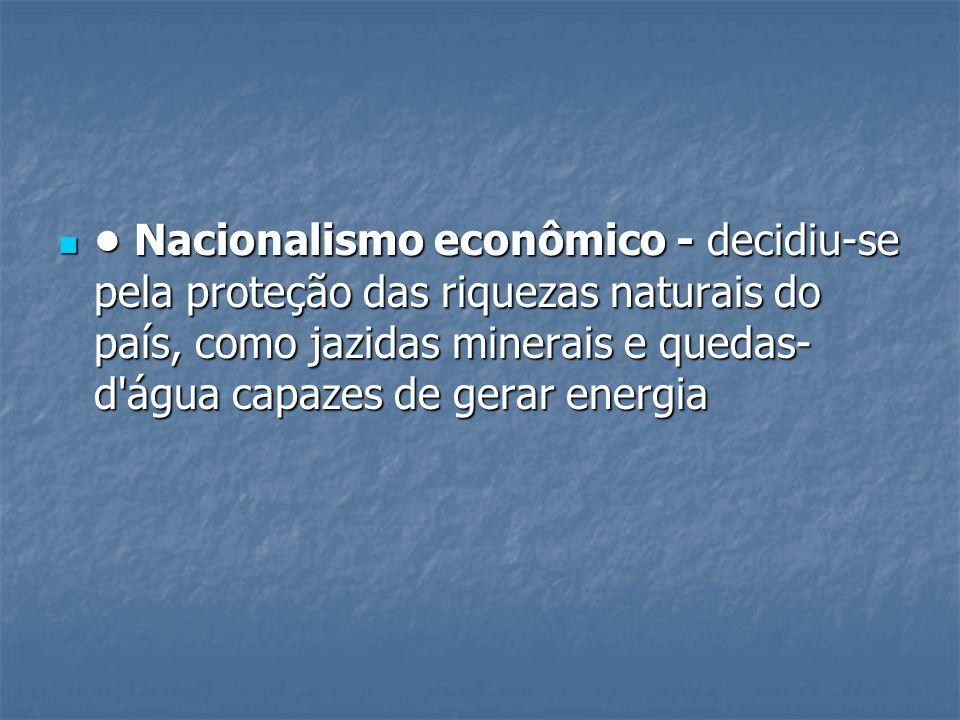 • Nacionalismo econômico - decidiu-se pela proteção das riquezas naturais do país, como jazidas minerais e quedas-d água capazes de gerar energia
