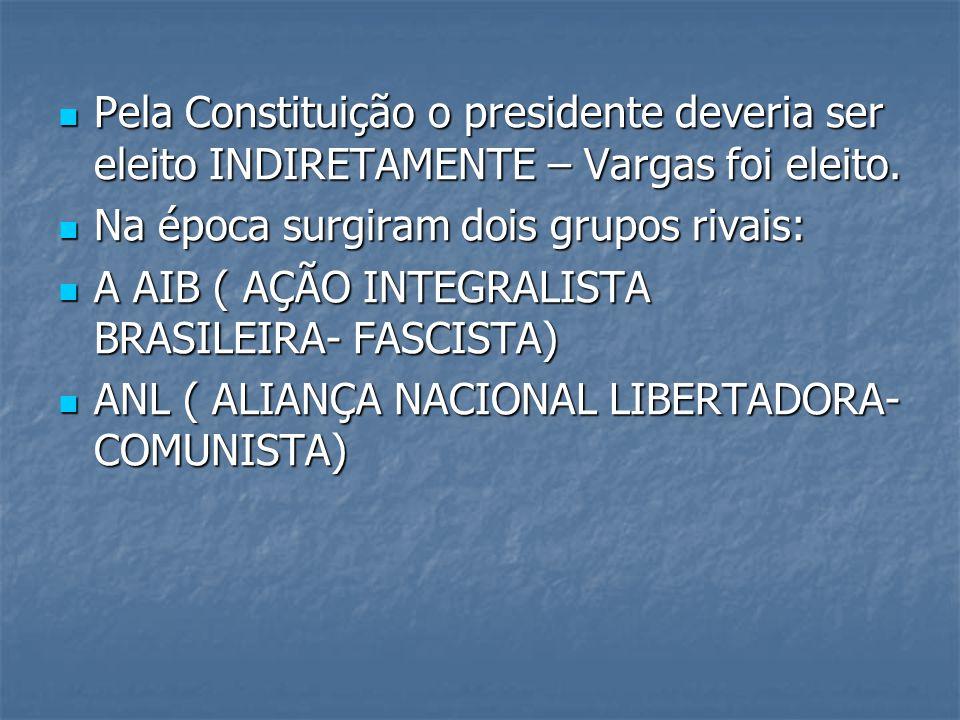 Pela Constituição o presidente deveria ser eleito INDIRETAMENTE – Vargas foi eleito.