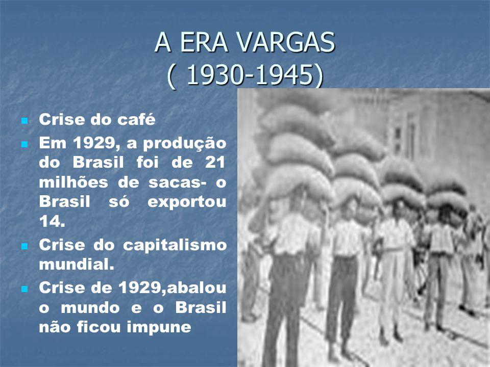 A ERA VARGAS ( 1930-1945) Crise do café