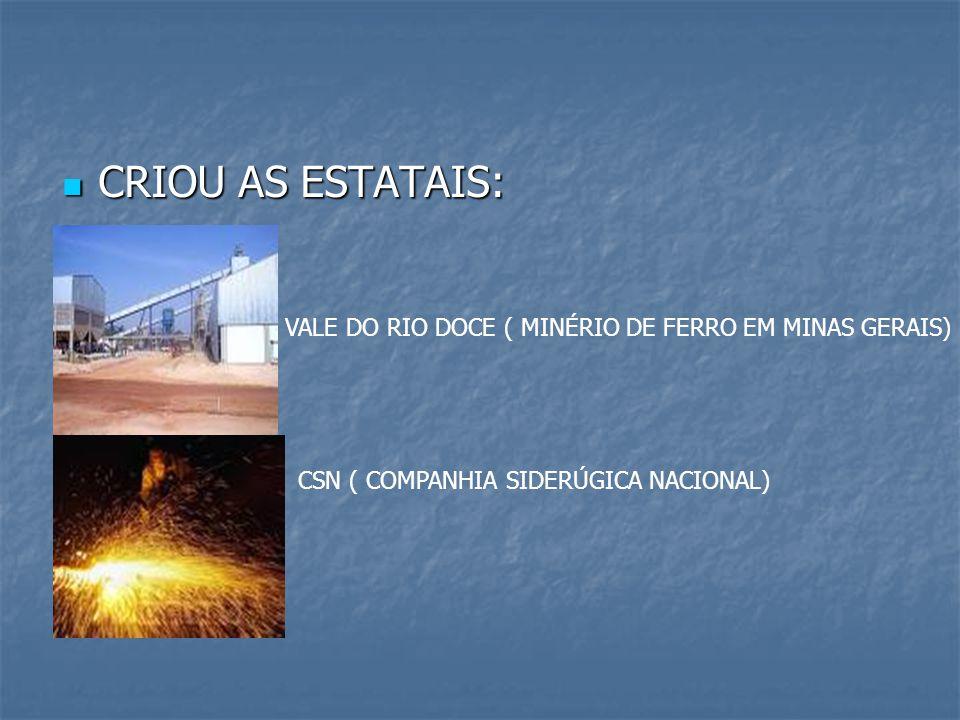 CRIOU AS ESTATAIS: VALE DO RIO DOCE ( MINÉRIO DE FERRO EM MINAS GERAIS) CSN ( COMPANHIA SIDERÚGICA NACIONAL)