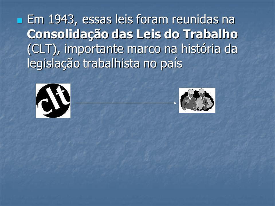 Em 1943, essas leis foram reunidas na Consolidação das Leis do Trabalho (CLT), importante marco na história da legislação trabalhista no país