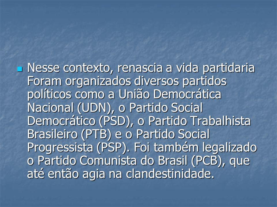 Nesse contexto, renascia a vida partidaria Foram organizados diversos partidos políticos como a União Democrática Nacional (UDN), o Partido Social Democrático (PSD), o Partido Trabalhista Brasileiro (PTB) e o Partido Social Progressista (PSP).
