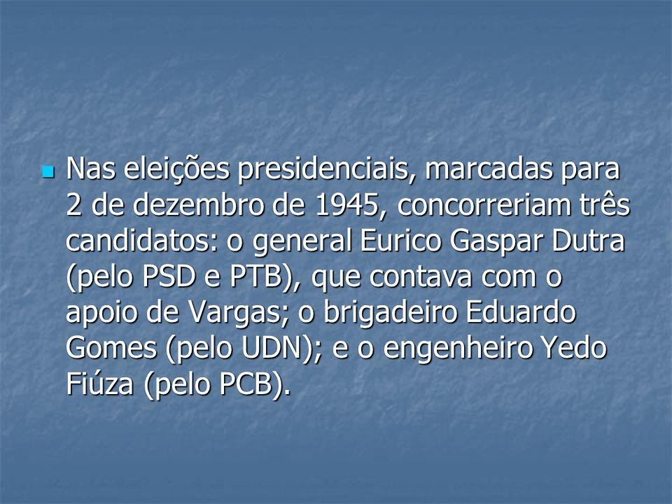 Nas eleições presidenciais, marcadas para 2 de dezembro de 1945, concorreriam três candidatos: o general Eurico Gaspar Dutra (pelo PSD e PTB), que contava com o apoio de Vargas; o brigadeiro Eduardo Gomes (pelo UDN); e o engenheiro Yedo Fiúza (pelo PCB).