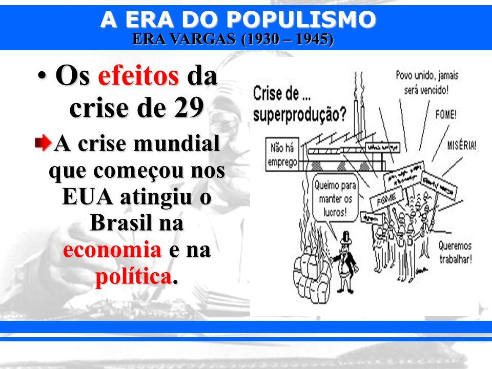 Os efeitos da crise de 29 A crise mundial que começou nos EUA atingiu o Brasil na economia e na política.