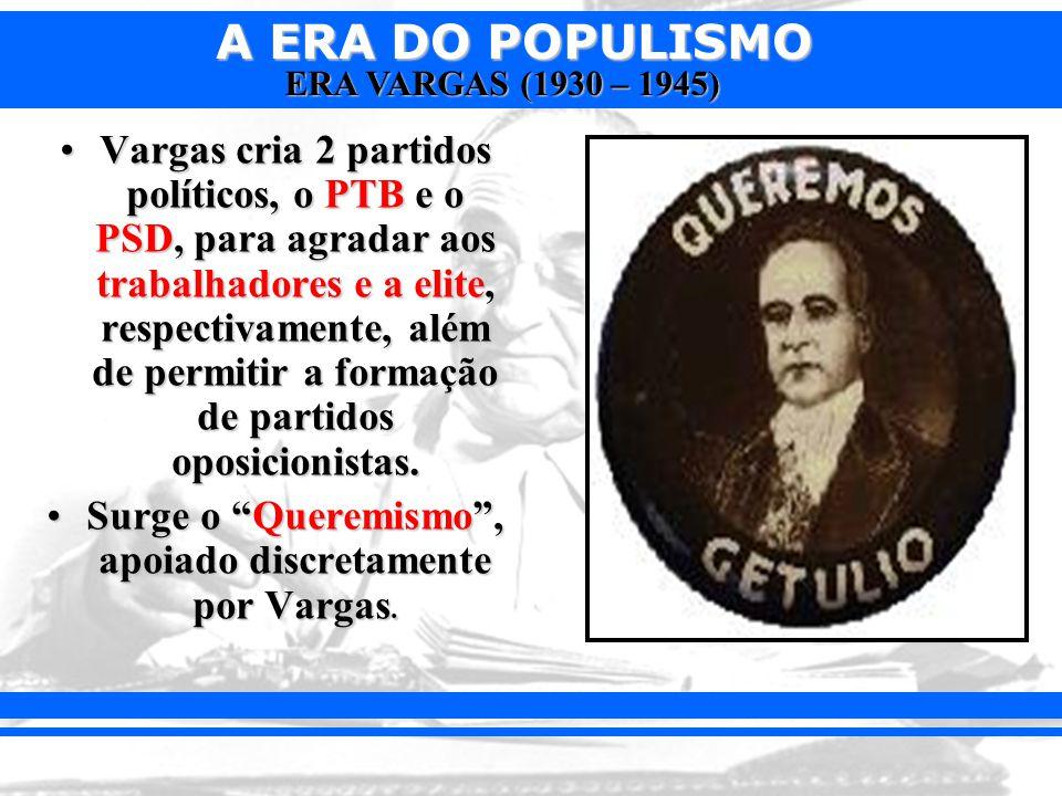 Surge o Queremismo , apoiado discretamente por Vargas.