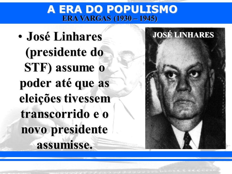 José Linhares (presidente do STF) assume o poder até que as eleições tivessem transcorrido e o novo presidente assumisse.
