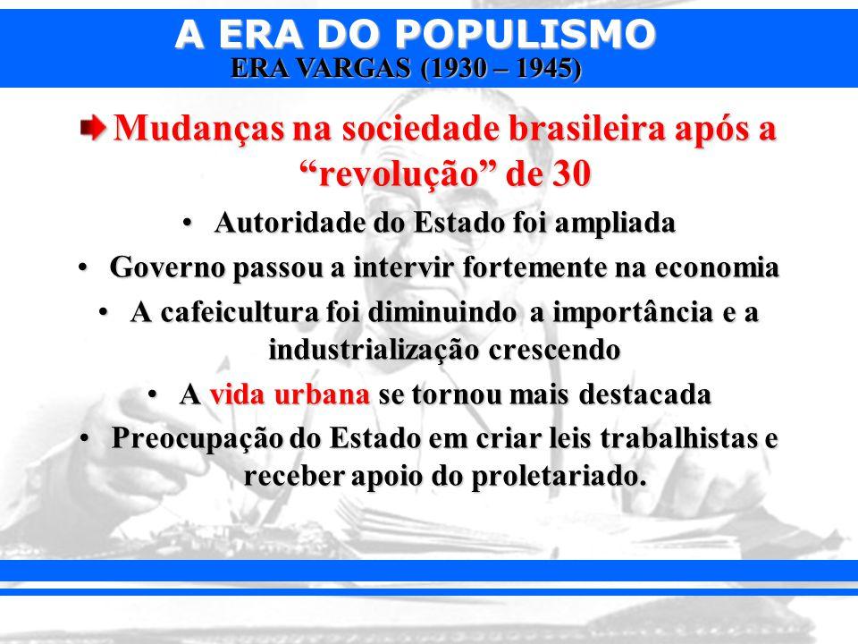 Mudanças na sociedade brasileira após a revolução de 30