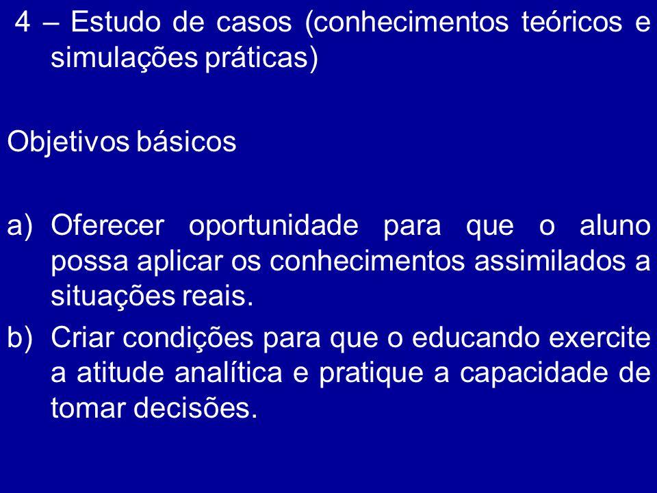 4 – Estudo de casos (conhecimentos teóricos e simulações práticas)