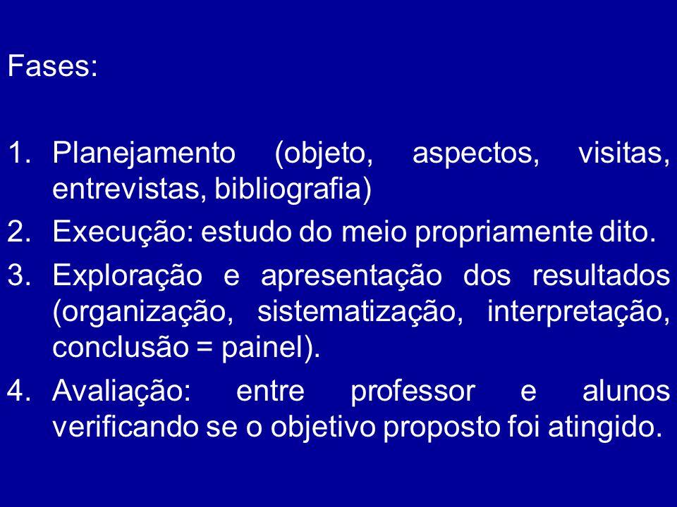 Fases: Planejamento (objeto, aspectos, visitas, entrevistas, bibliografia) Execução: estudo do meio propriamente dito.