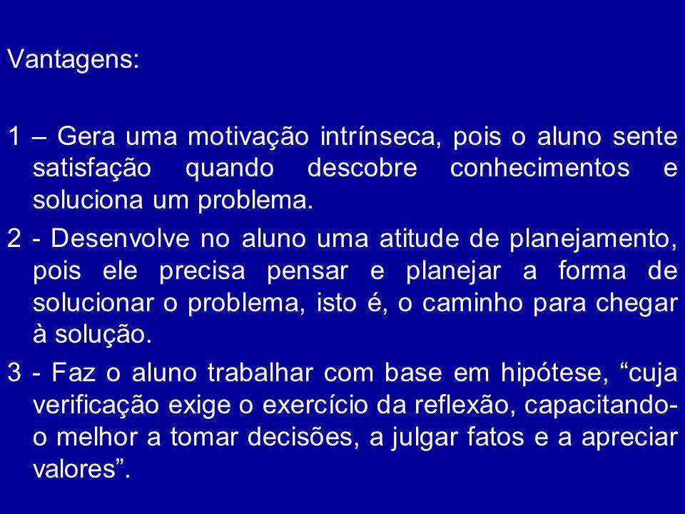 Vantagens: 1 – Gera uma motivação intrínseca, pois o aluno sente satisfação quando descobre conhecimentos e soluciona um problema.