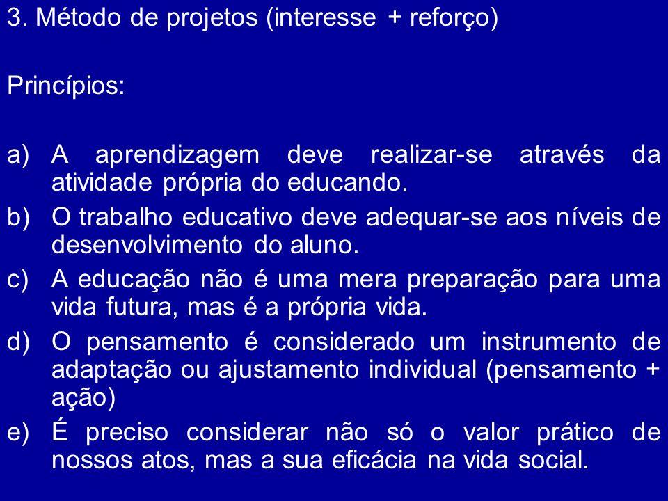 3. Método de projetos (interesse + reforço)