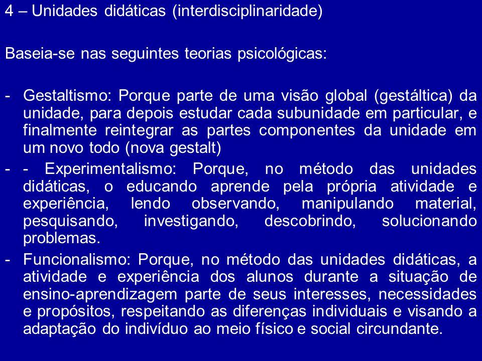 4 – Unidades didáticas (interdisciplinaridade)