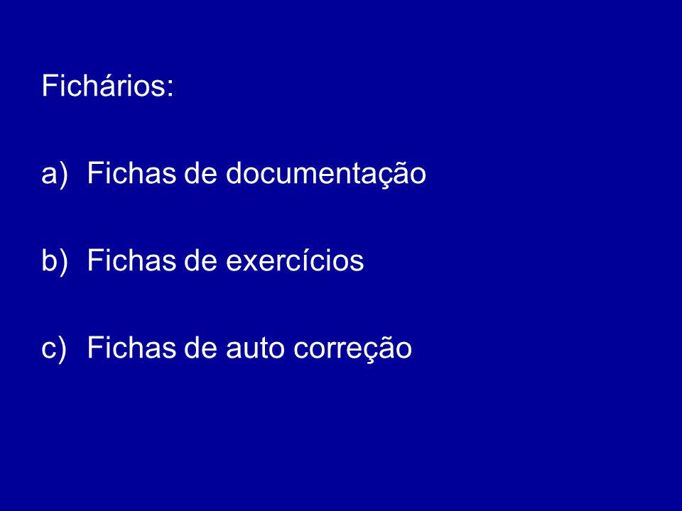 Fichários: Fichas de documentação Fichas de exercícios Fichas de auto correção