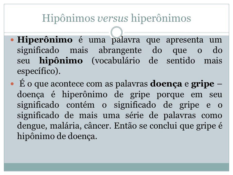 Hipônimos versus hiperônimos