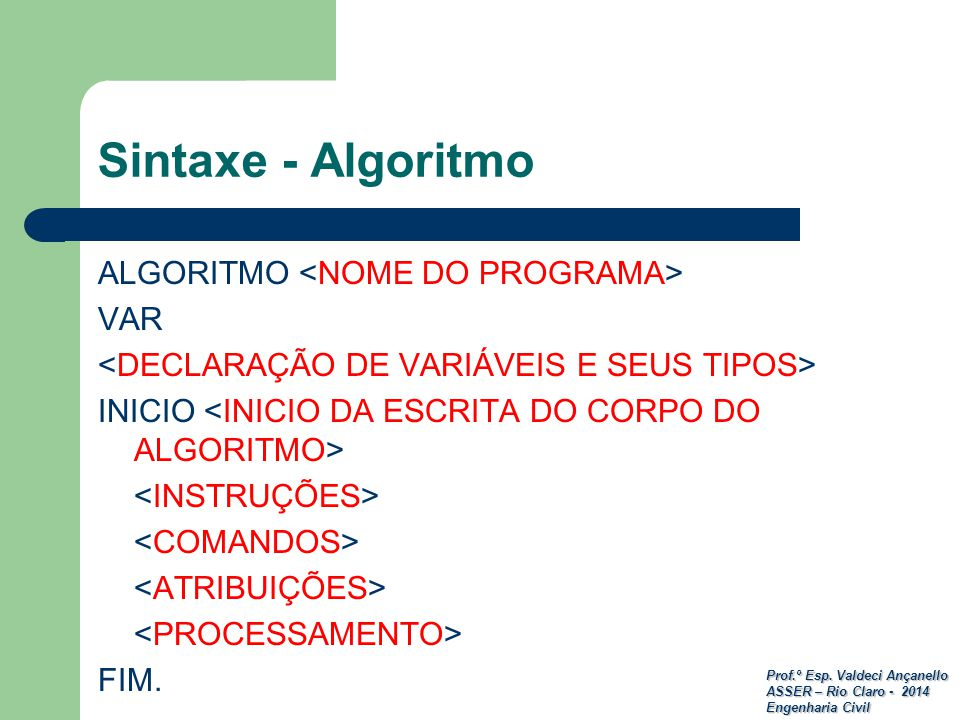 Sintaxe - Algoritmo