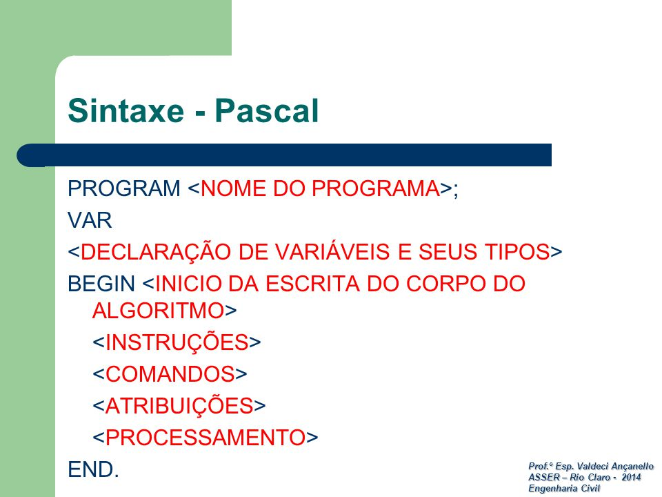 Sintaxe - Pascal