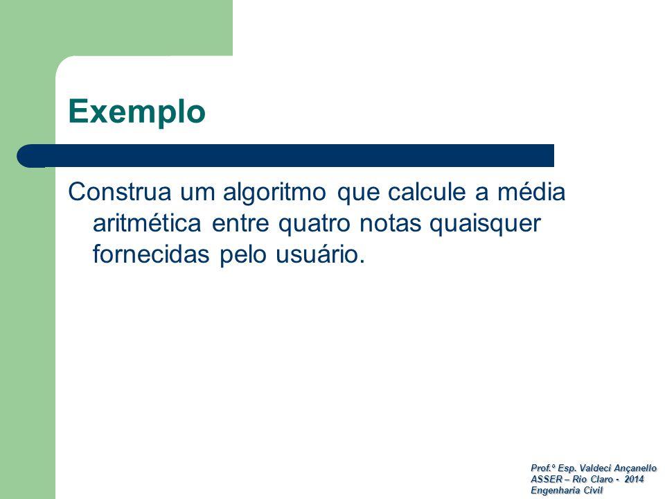 Exemplo Construa um algoritmo que calcule a média aritmética entre quatro notas quaisquer fornecidas pelo usuário.