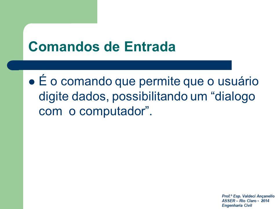 Comandos de Entrada É o comando que permite que o usuário digite dados, possibilitando um dialogo com o computador .