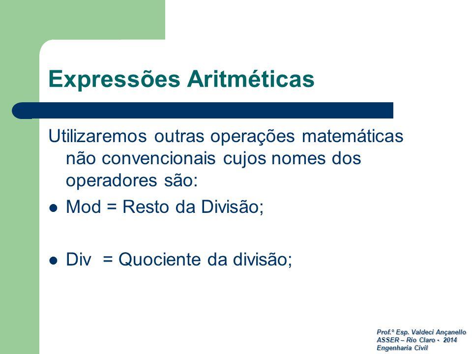 Expressões Aritméticas
