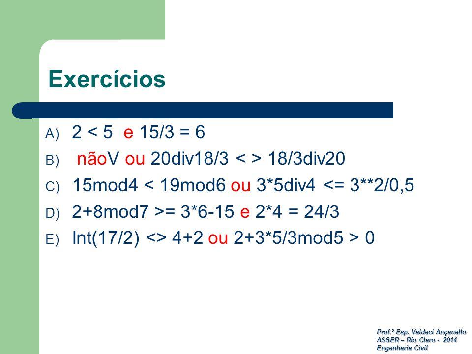 Exercícios 2 < 5 e 15/3 = 6 nãoV ou 20div18/3 < > 18/3div20