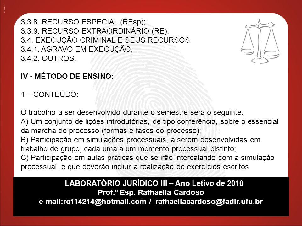 3.3.8. RECURSO ESPECIAL (REsp); 3.3.9. RECURSO EXTRAORDINÁRIO (RE).