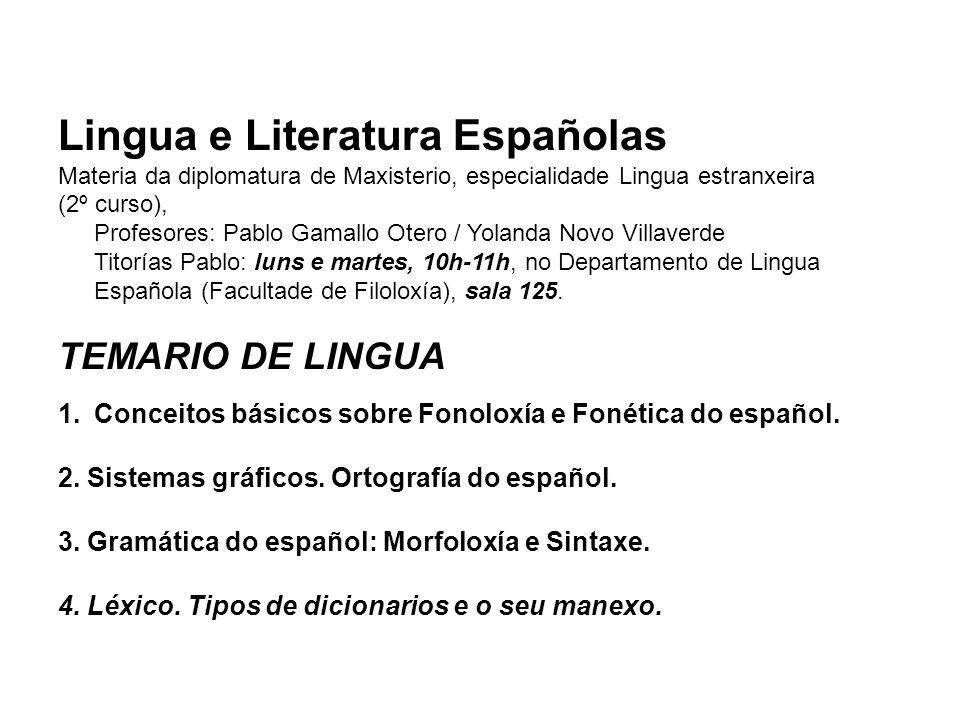 Lingua e Literatura Españolas