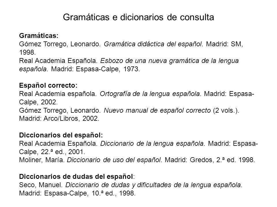 Gramáticas e dicionarios de consulta