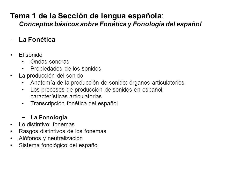 Tema 1 de la Sección de lengua española: Conceptos básicos sobre Fonética y Fonología del español