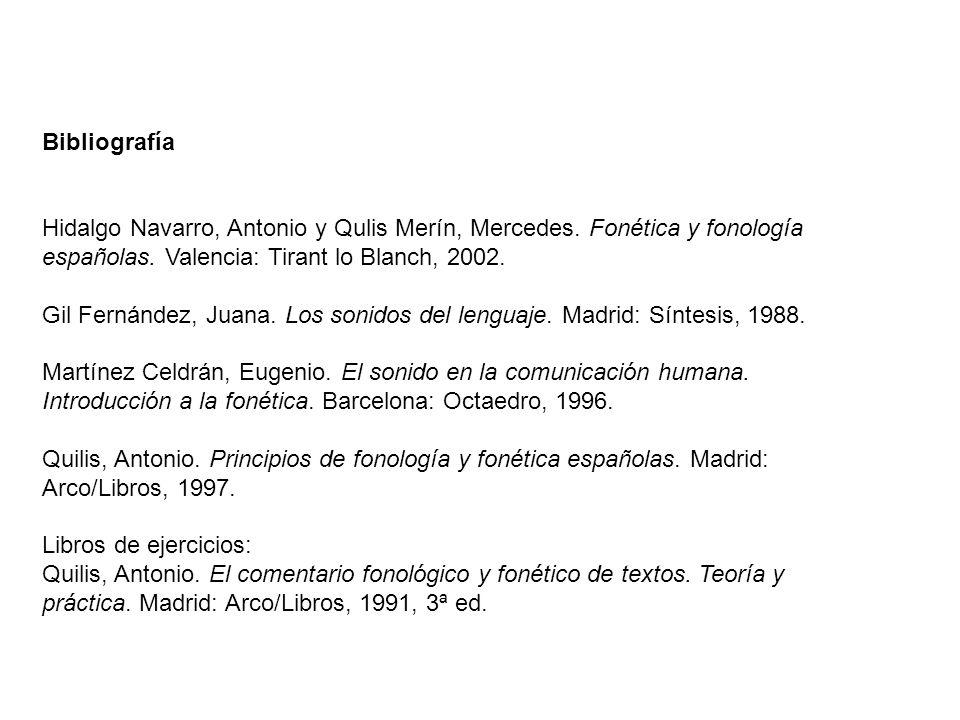 Bibliografía Hidalgo Navarro, Antonio y Qulis Merín, Mercedes. Fonética y fonología españolas. Valencia: Tirant lo Blanch, 2002.