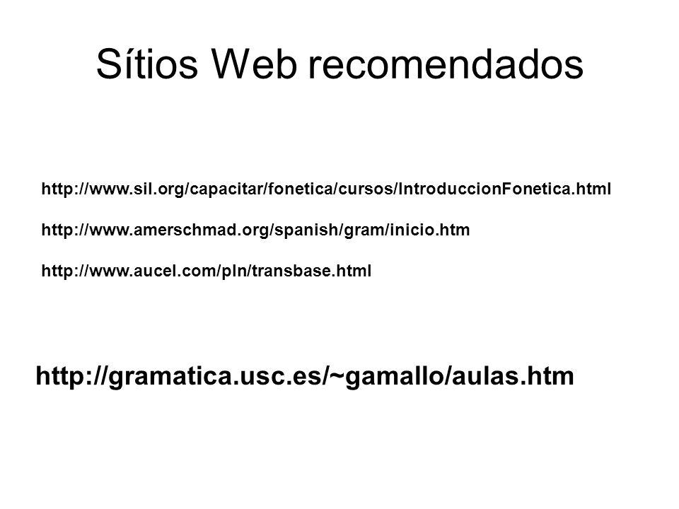 Sítios Web recomendados