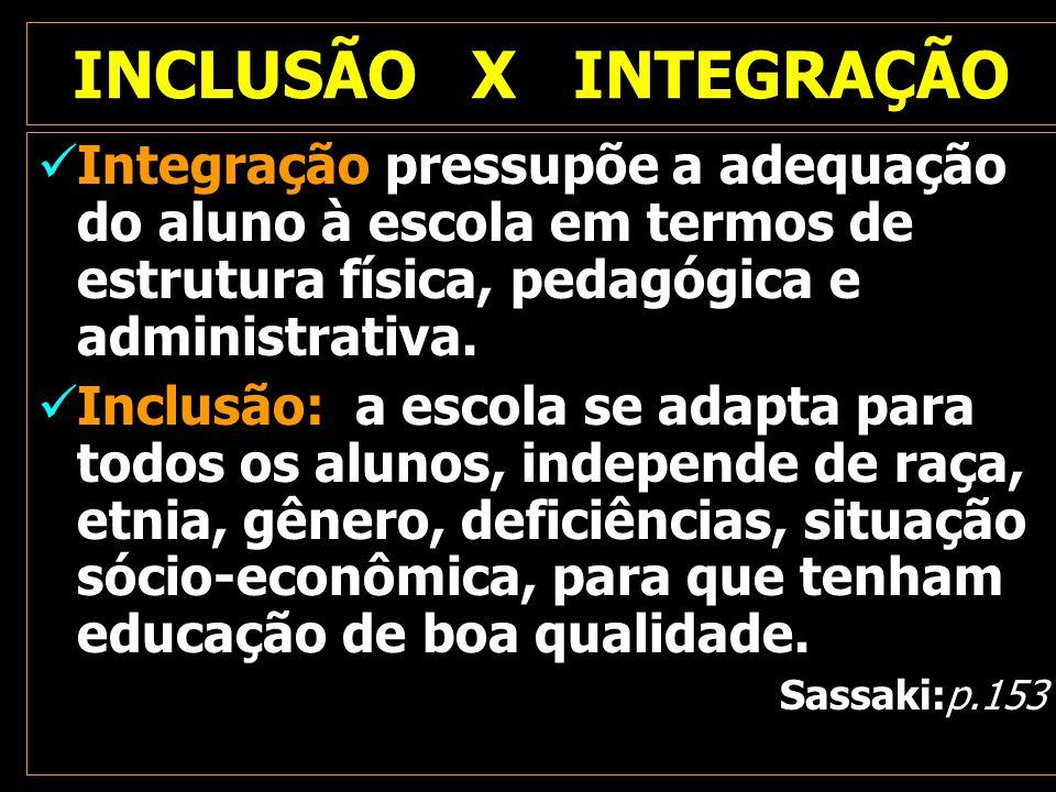 INCLUSÃO X INTEGRAÇÃO Integração pressupõe a adequação do aluno à escola em termos de estrutura física, pedagógica e administrativa.