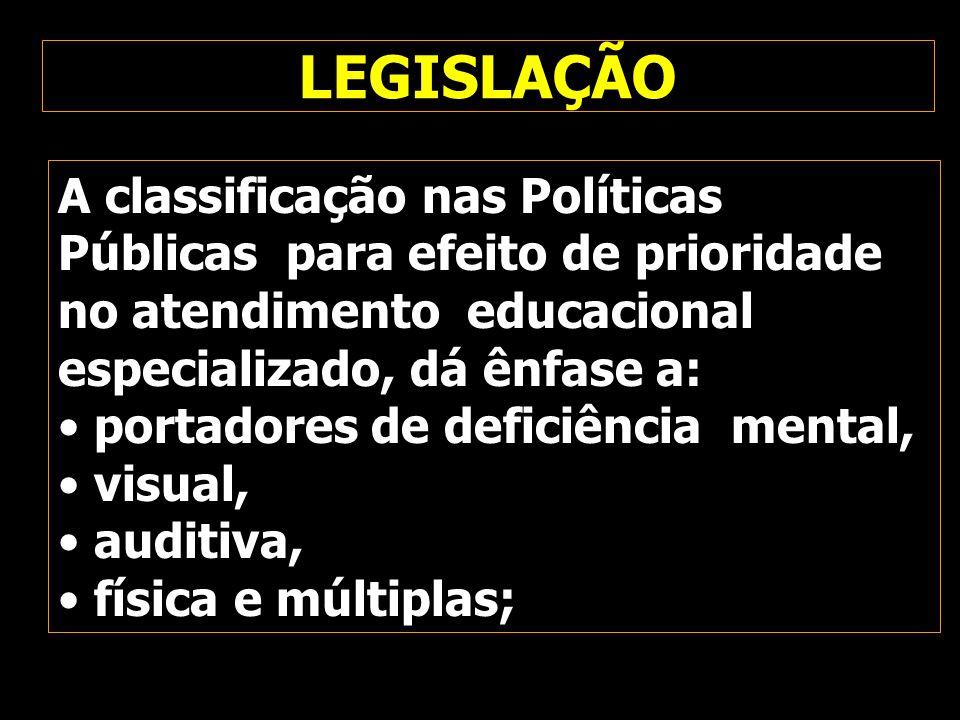 LEGISLAÇÃO A classificação nas Políticas Públicas para efeito de prioridade no atendimento educacional especializado, dá ênfase a: