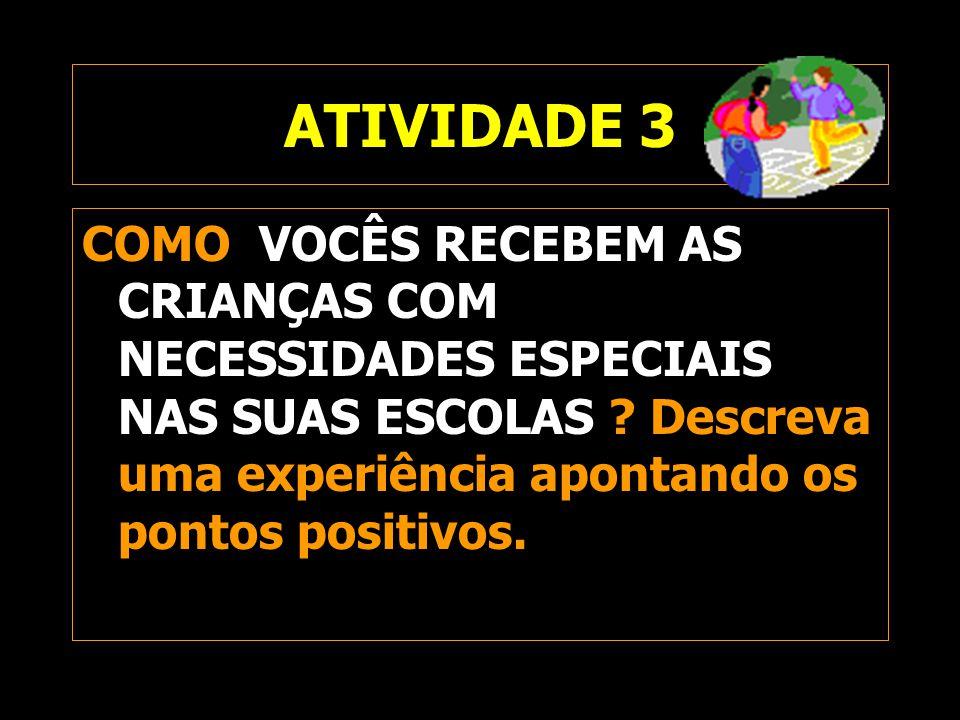ATIVIDADE 3 COMO VOCÊS RECEBEM AS CRIANÇAS COM NECESSIDADES ESPECIAIS NAS SUAS ESCOLAS Descreva uma experiência apontando os pontos positivos.