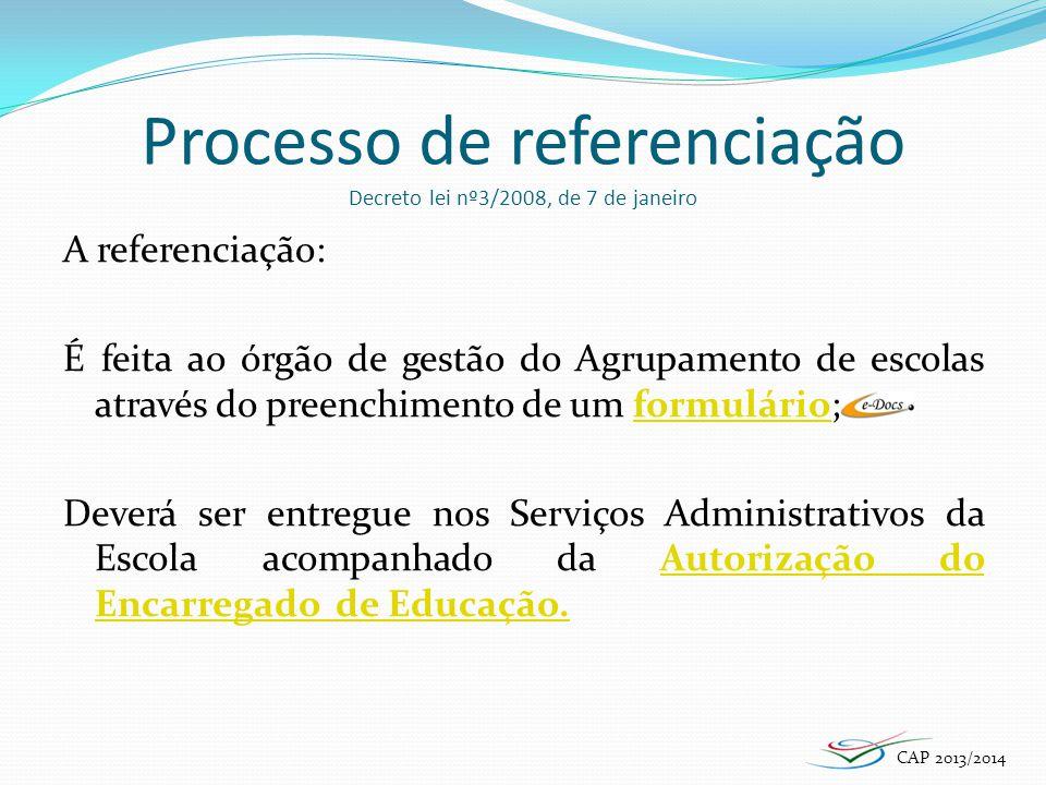 Processo de referenciação Decreto lei nº3/2008, de 7 de janeiro