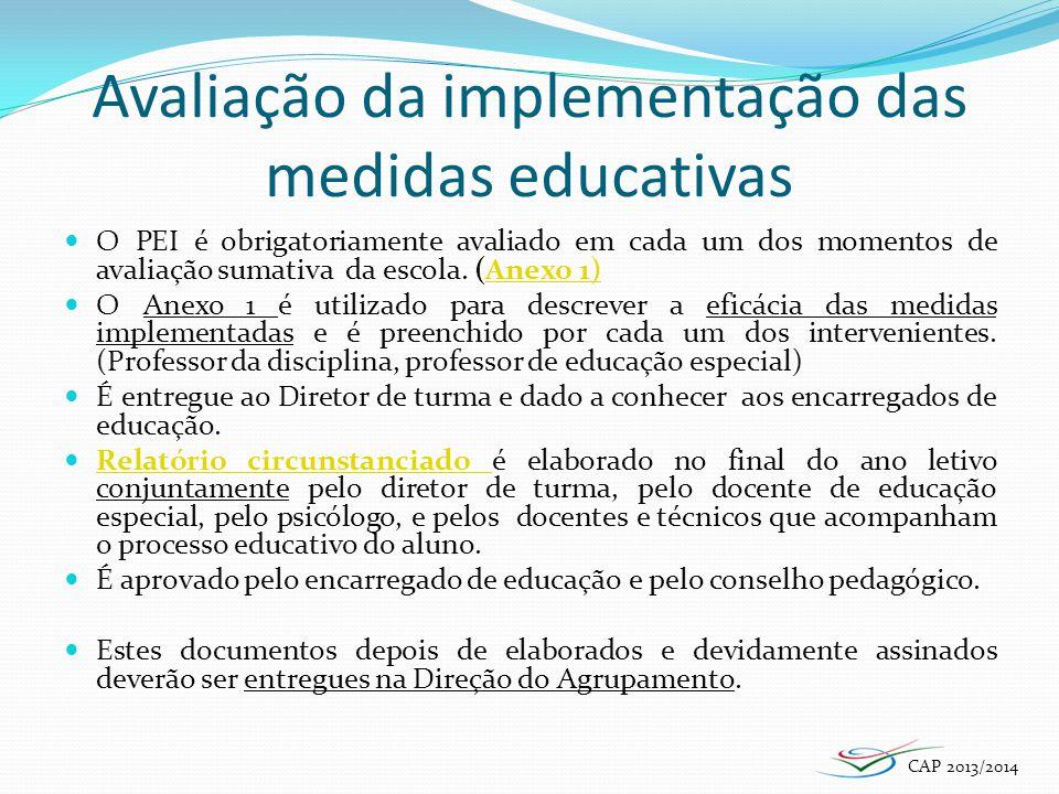 Avaliação da implementação das medidas educativas