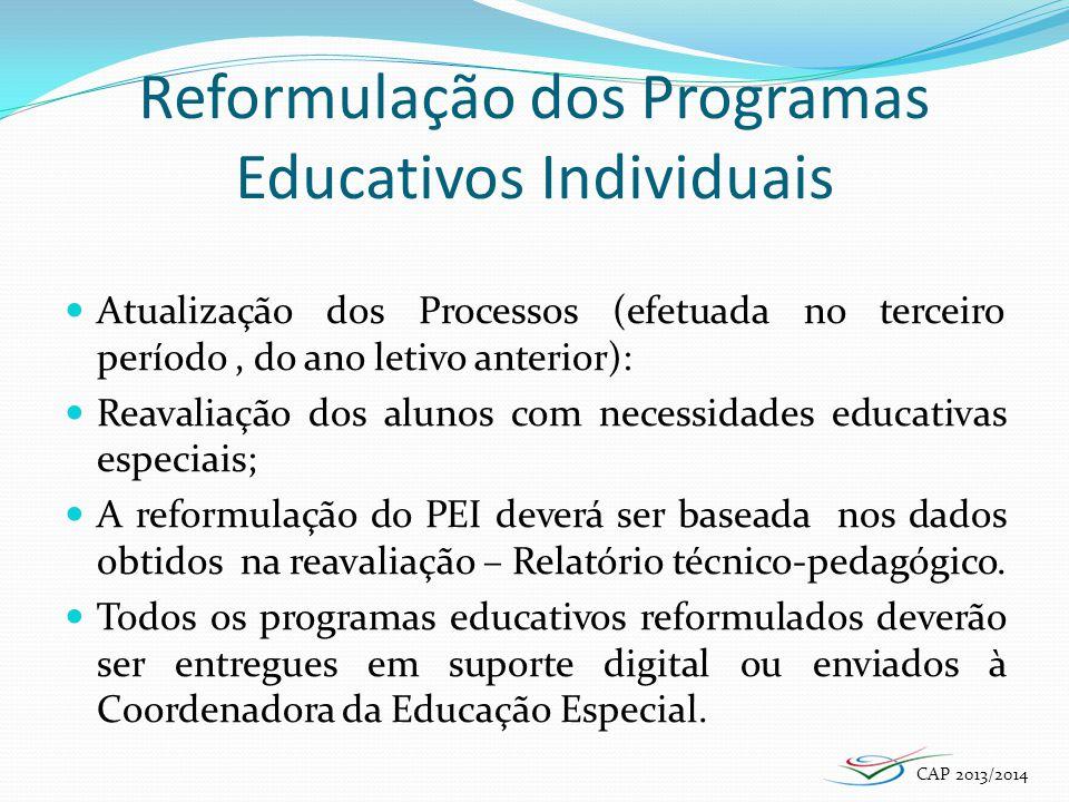 Reformulação dos Programas Educativos Individuais
